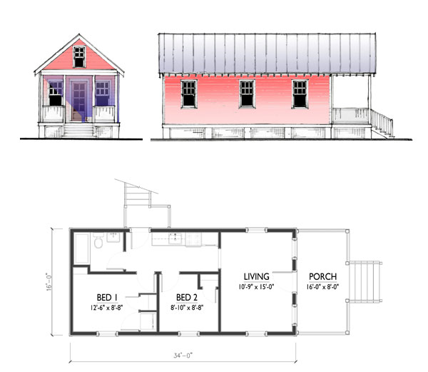 The katrina cottage model 544 Tiny house floor plan kit