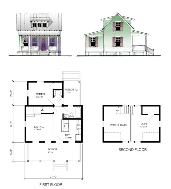 The katrina cottage model 697 Tiny house floor plan kit