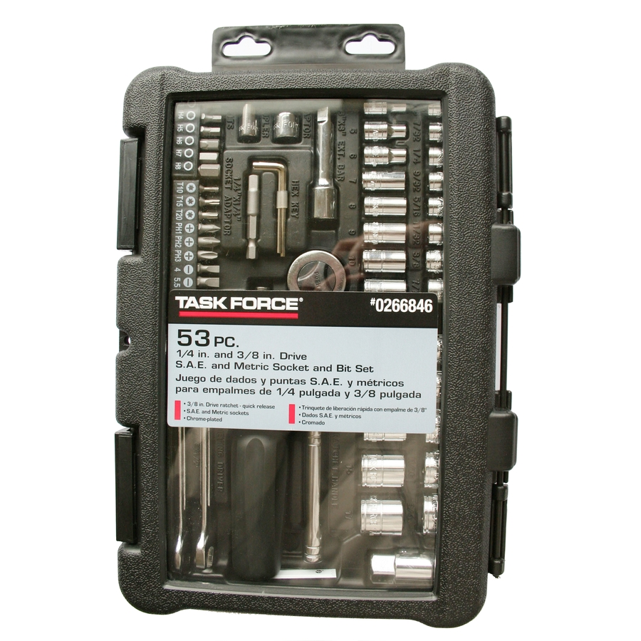 Task Force 53-Piece Standard/Metric Mechanics Tool Set with Case A-TINA 469F-53