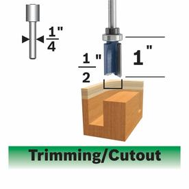 Bosch Straight Trimming Bit, 2 Flute 1/2-in x 1-in, Top Mounted Ball Bearing, 1/4-in Shank