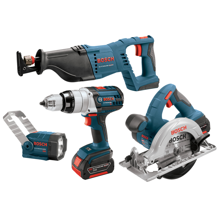 shop bosch 4 tool 18 volt lithium ion cordless combo kit with soft case at. Black Bedroom Furniture Sets. Home Design Ideas