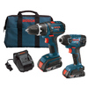 Bosch 2-Tool 18-Volt Lithium Ion (Li-ion) Cordless Combo Kit with Soft Case