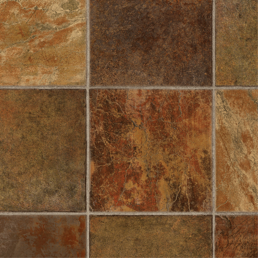 Shop tarkett 12 ft w dark rust tile low gloss finish sheet for Sheet vinyl flooring