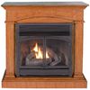 ProCom 44.52-in Dual-Burner Vent-Free Medium Oak Corner or Wall-Mount Liquid Propane and Natural Gas Fireplace