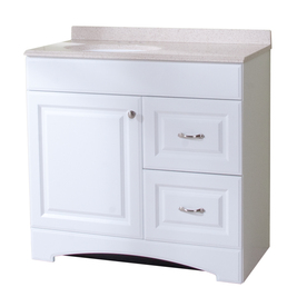 in White Integral Single Sink Bathroom Vanity with Cultured Marble Top