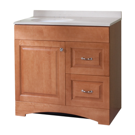 Almeta 36.5in x 18.7in Honey Integral Single Sink Bathroom Vanity