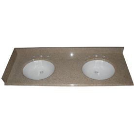 allen + roth Desert Gold Granite Undermount Double Sink Bathroom Vanity Top (Common: 61-in x 22-in; Actual: 61-in x 22-in)