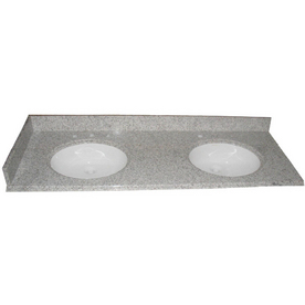 allen + roth Mission White Granite Undermount Bathroom Vanity Top (Common: 61-in x 22-in; Actual: 61-in x 22-in)
