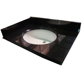 allen + roth Black Absolute Granite Undermount Single Sink Bathroom Vanity Top (Common: 25-in x 22-in; Actual: 25-in x 22-in)