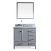 ARIEL Cambridge Grey Undermount Single Sink Asian Hardwood Bathroom Vanity with Natural Marble Top (Common: 37-in x 22-in; Actual: 37-in x 22-in)