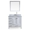 ARIEL Cambridge White Undermount Single Sink Asian Hardwood Bathroom Vanity with Natural Marble Top (Common: 37-in x 22-in; Actual: 37-in x 22-in)
