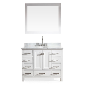 display product reviews for cambridge white undermount single sink bathroom vanity with natural marble top