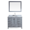 ARIEL Cambridge Grey Undermount Single Sink Asian Hardwood Bathroom Vanity with Natural Marble Top (Common: 43-in x 22-in; Actual: 43-in x 22-in)