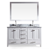 ARIEL Cambridge White Undermount Double Sink Asian Hardwood Bathroom Vanity with Natural Marble Top (Common: 61-in x 22-in; Actual: 61-in x 22-in)
