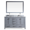 ARIEL Cambridge Grey Undermount Double Sink Asian Hardwood Bathroom Vanity with Natural Marble Top (Common: 61-in x 22-in; Actual: 61-in x 22-in)