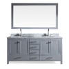 ARIEL Cambridge Grey Undermount Double Sink Asian Hardwood Bathroom Vanity with Natural Marble Top (Common: 73-in x 22-in; Actual: 73-in x 22-in)