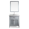 ARIEL Kensington Grey Undermount Single Sink Asian Hardwood Bathroom Vanity with Natural Marble Top (Common: 31-in x 22-in; Actual: 31-in x 22-in)