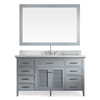 ARIEL Kensington Grey Undermount Single Sink Asian Hardwood Bathroom Vanity with Natural Marble Top (Common: 61-in x 22-in; Actual: 61-in x 22-in)