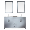 ARIEL Hanson Grey Drop-in Double Sink Asian Hardwood Bathroom Vanity with Ceramic Top (Common: 60-in x 19-in; Actual: 60-in x 19-in)