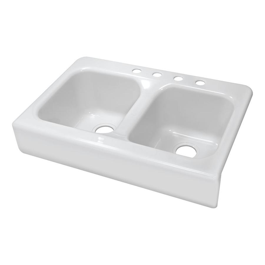 Double Farmhouse Kitchen Sink : Apron 23-in x 34-in White Double-Basin Acrylic Apron Front/Farmhouse ...