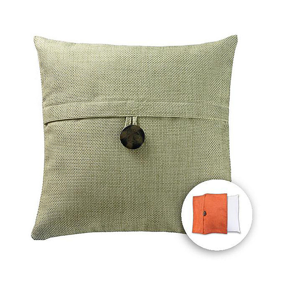 Decorative Pillow Covers Lowes : Shop allen + roth 18-in W x 18-in L Green Square Decorative Pillow Cover at Lowes.com