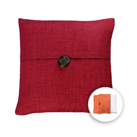 allen + roth 18-in W x 18-in L Red Square Accent Pillow Cover