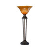 32-in Bronze Table Lamp with Tiger Glass Shade
