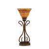 16-3/4-in Bronze Table Lamp with Firre Saturn Glass Shade