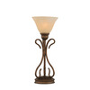  16-3/4-in Bronze Table Lamp with Amber Marbleized Glass Shade