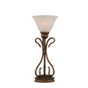  16-3/4-in Bronze Table Lamp with White Marbleized Glass Shade