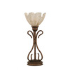  16-3/4-in Bronze Table Lamp with Gold Ice Glass Shade