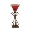  16-3/4-in Bronze Table Lamp with Raspberry Crystal Glass Shade