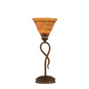  13-1/4-in Bronze Table Lamp with Firre Saturn Glass Shade