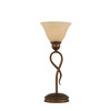  13-1/4-in Bronze Table Lamp with Amber Marbleized Glass Shade