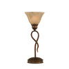  13-1/4-in Bronze Table Lamp with Italian Marbleized Glass Shade