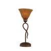 13-1/4-in Bronze Table Lamp with Tiger Glass Shade