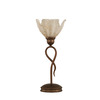  13-1/4-in Bronze Table Lamp with Gold Ice Glass Shade