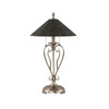 27-in Nickel Table Lamp with Charcoal-Spiral Glass Shade