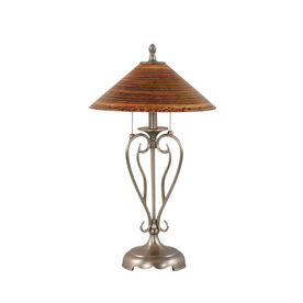 27-in Nickel Touch Indoor Table Lamp with Glass Shade
