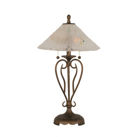 27-in Bronze Touch Indoor Table Lamp with Glass Shade