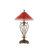 27-in Bronze Table Lamp with Raspberry Crystal Glass Shade