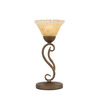  15-1/4-in Bronze Table Lamp with Tiger Glass Shade