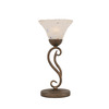  17-in Bronze Table Lamp with Frosted Crystal Glass Shade