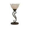 17-in Bronze Table Lamp with Gold Ice Glass Shade