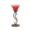  17-in Bronze Table Lamp with Raspberry Crystal Glass Shade