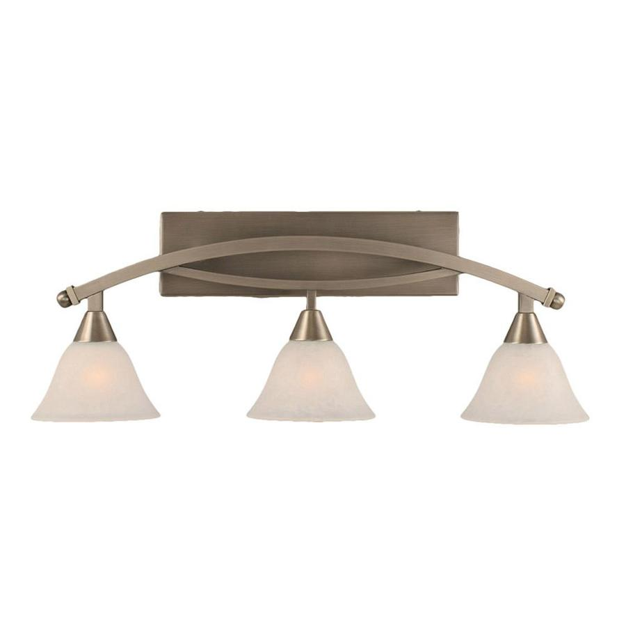 Shop 3 light brooster brushed nickel bathroom vanity light for Bathroom light fixtures lowes