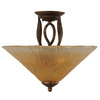16-in Bronze Tea-Stained Glass Semi-Flush Mount Light