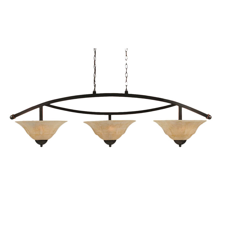 Shop Brooster 16 in W 3 Light Black Copper Kitchen Island Light with