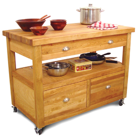 Catskill Craftsmen 26-in L x 48-in W x 36-in H Northeastern Hardwood/Oiled Kitchen Island with Casters