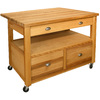 Catskill Craftsmen 48-in L x 36-in W x 35.5-in H Yellow Kitchen Island with Casters